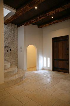 home design |[Entrance hall] |TEPEE HEART #natural stone #burn ceiling #plaster wall #wooden entrance door #オリジナル木製玄関ドア