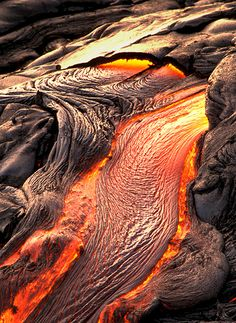 Pahoehoe lava, Mt. Kilauea, Hawaii Volcanoes National Park, Hawaii.  Kilauea is…