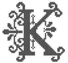 Counted Cross Stitch Pattern Formal Letters for Initials  Letter K - Instant Download Epattern PDF File