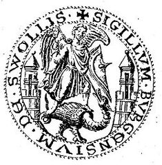 City seal of Zwolle from 1295 with Saint Michael killing a basilisk