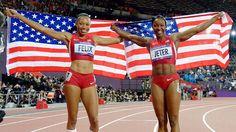 Allison Felix (Gold) and Carmelita Jeter ( Bronze) ...2012 Olympics