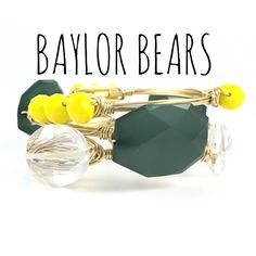 Baylor University Bears Game Day Wire Wrapped Bangles Set, Courtney And Courtnie, Acrylic, Crystal Bracelet, Handmade Jewelry by CourtneyAndCourtnie on Etsy (null)