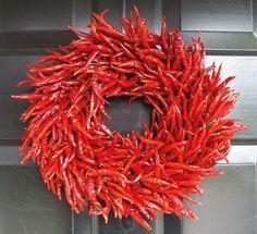 Organic Red Chili Pepper Wreath, Kitchen Centerpiece, Wall Decor, Housewarming Gift, Herb Wreath, Southwest Decor. $70.00, via Etsy. ♥♥♥!!!
