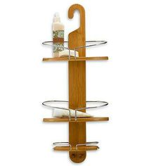 This decorative shower caddy has room to hold lots of shower necessities. Made of durable bamboo with stainless steel wire, it features a unique, modern design that will add pizzazz to your shower.