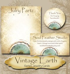 ♥•♥ VINTAGE EARTH Series 1 ♥•♥  ❤ Please read all instructions before ordering....❤ This listing is for custom made tags, hand cut jewelry cards and accessories.  A wonderful collection of earthy hues, vintage looking textures and mandalas from my Land Down Under series. Perfect colors to compliment jewelry, gifts or whatever you are using these for. Choose your font from above and let me know of any special requests in the NOTE TO SELLER box at checkout. After purchase I will begin working…