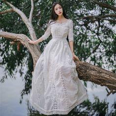 Vintage Palace Woman Sweet Lolita White Lace Princess Style Dress Wedding #L-67 #NEW