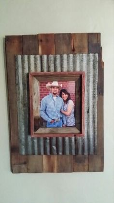 Barn wood, corigated tin and frame.