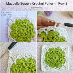 Crochet Square Pattern My Rose Valley: Maybelle Square Crochet Pattern Crochet Squares, Crochet Motifs, Granny Square Crochet Pattern, Crochet Blocks, Crochet Granny, Crochet Stitches, Knit Crochet, Motifs Granny Square, Granny Squares