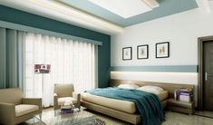beige and blue contrast walls   ... with various feature walls design blue and white ceiling with led