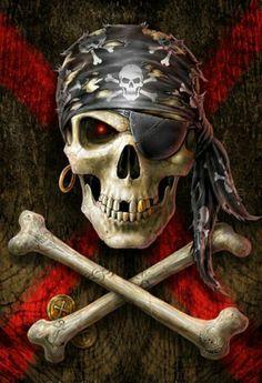Skull art: Pirate flag by Anne Stokes Pirate Art, Pirate Skull, Pirate Life, Pirate Flags, Pirate Ships, Anne Stokes, Art Harley Davidson, Steeler Nation, Black Sails