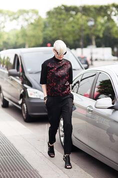 edgy sweater with straight leg pants