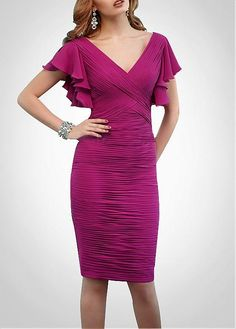 Buy discount Gorgeous Chiffon Sheath Deep V Neckline Ruched Knee-Length Mother of the Bride Dress at Magbridal.com