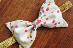 Baby Girl Fabric Bow Headband - Multi-Color Confetti Dot - Gold Glitter Elastic on Etsy, $8.00