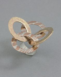 Ring | Joe Han Lee. 'Warrior Virtue - Loyalty'  Mokume Gane (Silver & Copper, Brass & Copper), Sterling Silver