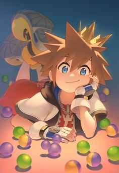 Sora's my favorite character from Kingdom Hearts and I collect and draw images featuring him and his friends. Sora Kingdom Hearts, Kingdom Hearts Funny, Kingdom Hearts Characters, Pokemon, Girls Anime, Video Game Art, Studio Ghibli, Anime Couples, Illustration