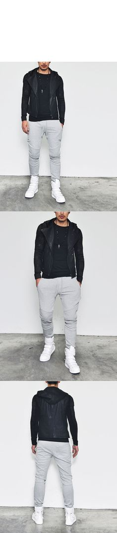 Bottoms :: 3sz) Designer Edition Seaming Slim Biker-Sweatpants 42 - Mens Fashion Clothing For An Attractive Guy Look
