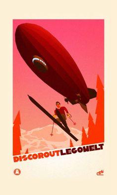 Vintage art deco poster, 1930s ski / skiing / art deco / retro / vintage / art / poster / print / illustration