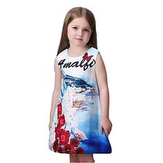 Kidscool Little Girls Sleeveless Blue Ocean Print White Princess Dress -- You can get more details by clicking on the image.