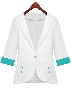 White Lapel Half Sleeve Pockets Fitted Blazer - Sheinside.com