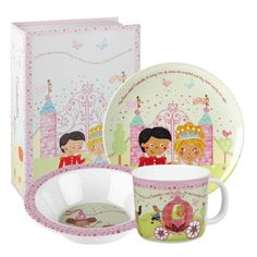 Save 46% - Now Only £9.99  The Cinderella 3 Piece Melamine Set is a gorgeous set that includes a plate, bowl and mug that come gift boxed in a beautiful presentation box.