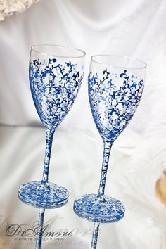 Royal blue and glitter wedding champagne glasses / by DiAmoreDS