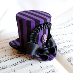 Striped Gothic Pirate Mini Top Hat in Purple and Black - Ready to Ship. €60.00, via Etsy.