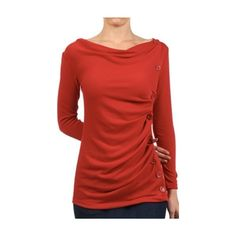 Womens Long Sleeve Ribbed Cowl Neck Top ($27) ❤ liked on Polyvore featuring tops, sweaters, long sleeve cowl neck top, red cowl neck sweater, cowl top, cowlneck sweater and rib sweater