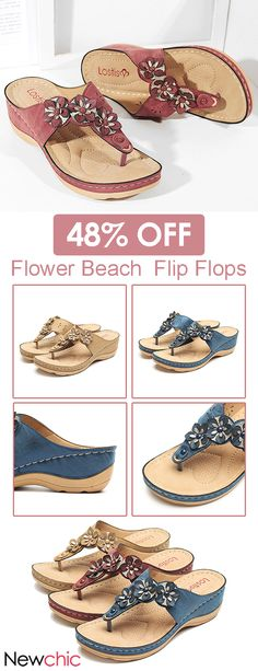14de3a1f65153  48% off LOSTISY Color Match Flower Flip Flops Beaded Casual Beach Sandals.