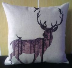 """Howarmer Cotton Linen Square Decorative Throw Pillow Case Cushion Cover Dear and Forest 18""""x 18"""""""