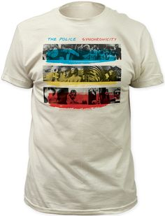 This Police tshirt features the album cover artwork to the classic New Wave rock band's juggernaut, Synchronicity. Considered one of the greatest albums of the 1980s as well as in all of Rock history, Synchronicity was nominated for 5 Grammy awards. The album featured the hits, Every Breath You Take, Wrapped Around Your Finger, Synchronicity II & King of Pain. Our Synchronicity men's tee is made of 100% white fitted cotton and highlights the artwork from the front cover of the album…