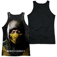 MORTAL KOMBAT X/FINISH HIM-ADULT POLY TANK TOP BLACK BACK-WHITE-2X
