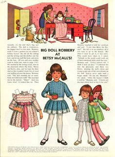 Vintage November 1972 Magazine Paper Doll Betsy McCall Big Doll Robbery