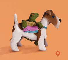 Perretes: Tortuga y Fox-Terrier  By ItoAlón