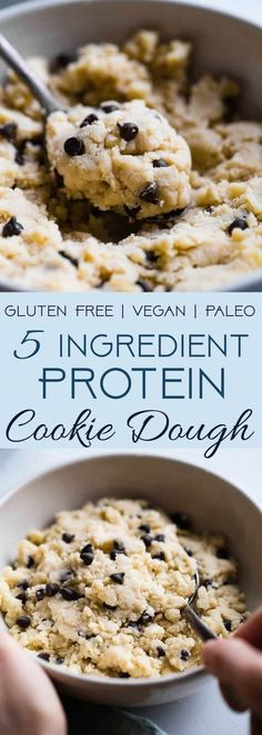 Recipes Snacks Protein Healthy Protein Powder Cookie Dough - This 5 ingredient healthy, edible cookie dough is gluten free, paleo/vegan friendly and ready in 5 minutes! It packs of protein and only 200 calories so you can eat the whole bowl! Protein Powder Cookies, Protein Cookie Dough, Vegan Cookie Dough, Protein Powder Recipes, Vanilla Protein Powder, Cookie Dough Recipes, Protein Powder Baking, Gluten Free Cookie Dough, Vegan Protein Powder