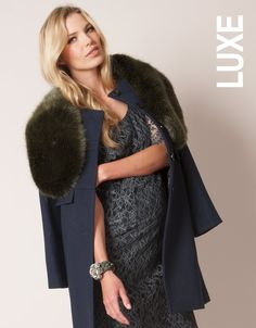 Seraphine™ is the top maternity fashion destination for stylish mums to be, with over 17 years' experience designing maternity clothes loved by celebs & royals. Maternity Winter Coat, Maternity Coats, Faux Fur Wrap, Maternity Fashion, Maternity Style, Vintage Fabrics, Olive Green, Fur Coat, Celebs