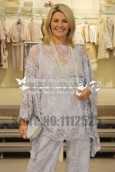 AMP1021 New Style there piece lace mother of the bride pants suit plus size outfit