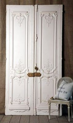 Antique French Chateau Doors with Rococo Detailing & Antique mirror doors. Makes me wonder if I can use antique doors ... Pezcame.Com