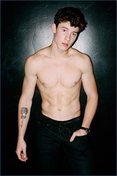 Brad Elterman photographs a shirtless Shawn Mendes in black GUESS jeans and Calvin Klein underwear for Flaunt.