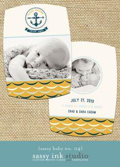 NAUTICAL Photo Birth Announcement Template baby by SassyInkStudio, $12.00