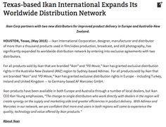 Ikan continues to expand its worldwide distribution network. Check out what Motion Picture Lighting and Grip had to say about us.