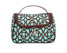 """You-Zip Cosmetic - Aqua Lotus 8.5""""W x 5.5""""H x 5.5""""D The perfect storage solution for make-up and toiletries! Mesh zipper pocket and two side loops on the interior work to keep items upright and in place. Large, open interior. U-shaped zipper opening provides easy access. Coordinates beautifully with other travel pieces. Single initial and 3 character limit."""