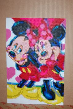 mickey & minnie mouse perler bead art made by me - amanda wasend