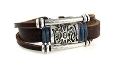Sun Medallion Blue Accent Leather Zen Bracelet in Gift Box by Beautiful Silver Jewelry -- Awesome products selected by Anna Churchill