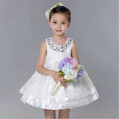 27.94$  Watch here - http://aipyh.worlditems.win/all/product.php?id=32514795300 - New 2017 Kids White Flower Girl Dresses For Girls Fashion Formal Princess Birthday Sleeveless Vestidos Girls Clothes SKF154001