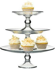 Tiered cake stand - like this modern interpretation of the classic stand, three individual stacked glass stands, the ultimate in practicality