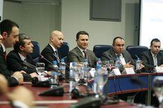 Mr Darko Angelov (Ambassador); Mr Viktor Mizo (CEO, Free Zone Authority); Mr Michele Orzan (President, EuCham); Mr Nikola Gruevski (Prime Minister, Macedonia); Mr Vladimir Peshevski (Deputy Prime Minister for Economic Affairs, Macedonia)