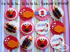 Cake Designing in Color – It's Not Always Black and White Fondant Toppers, Cupcake Toppers, Cupcake Cakes, Cupcake Ideas, Elmo Cupcakes, Elmo Cake, Elmo Birthday, Birthday Ideas, Balloon Cake