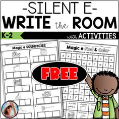 Phonics Write the Room | Free | Silent e | Magic e | CVCe Activities Silent E, Silent Words, Kindergarten Rocks, Friendly Letter, Find Color, Word Families, E Cards, Word Work, Anchor Charts