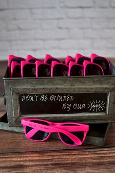 The perfect souvenir for a sweet sixteen party, bat mitzvah or graduation party, pink frame sunglasses personalized with the celebrant's name and date make fun party favors everyone will love receiving and wearing at a spring, summer or fall celebration. Create a sunglasses station for guests to help themselves to a pair of sunglass favors during the party. These sunglasses can be ordered at http://myweddingreceptionideas.com/personalized-hot-pink-frame-sunglasses-favors.asp