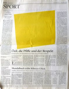 From an issue of Die Welt designed to honor an exhibition by Ellsworth Kelly. The culture editor, Cornelius Tittel, convinced the newspaper to run Kelly shapes in place of all photographs.
